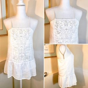 Banana Republic White Cotton Cami XS Embroidery